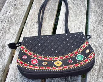Quilted India purse black and red mirrors beads embroidered handbag hippie bag purse