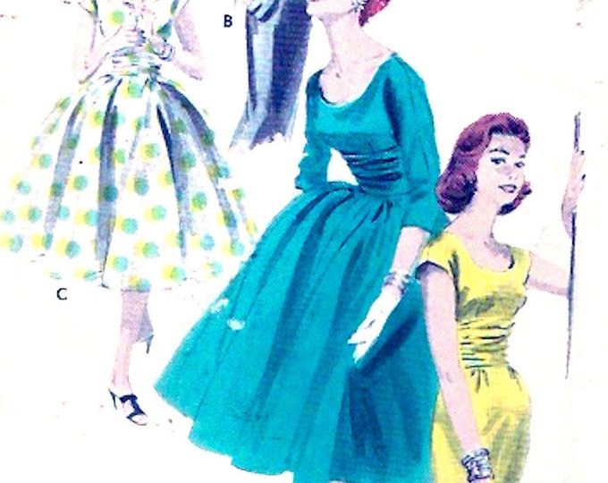1950s Rockabilly Dress slim or full skirt Mid century modern junior teen bridesmaid fashion Butterick 7785 Bust 30 Small XS