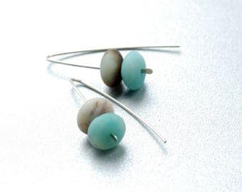 Amazonite Earrings, Semi Precious Stone Jewelry, Hammered Silver Earrings, Beachy Jewelry, Blue and Brown, Simple Stone Earrings