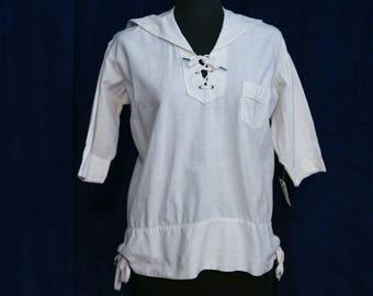 Vintage 1920s White Cotton Nautical Sailor Middy Top - Size M/L