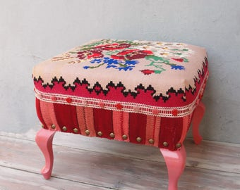 Bohemian Kilim Ottoman, Kilim Pouf Bohemian Wooden Furniture Vintage Kilim Hand woven, Global Textile, Stripes and Flowers