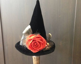 Witch Hat, Halloween Mini Top Hat Autumn Feather Fascinator