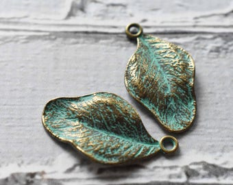 Antique Brass Verdigris Metal Smooth Leaf Charms- Boho Brass Leaf Charms Blue Green Patina-  Antiqued Jewelry Supply- Set of 10