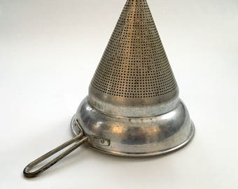 Vintage Aluminum Jam and Jelly Sieve, Large Juicer Strainer without Stand or Pestle
