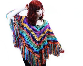 Poncho crochet boho gypsy tons of fringe rainbow blue orange yellow