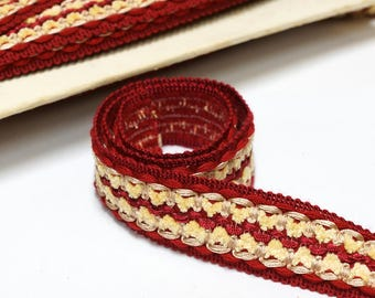 Vintage French passementerie trim by the yard - Red vintage woven trim