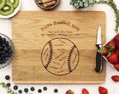Planche à découper de baseball, Coach personnalisé cadeau, personnalisés découpe planche, cadeau sportif, entraîneur cadeau, gravure personnalisée Conseil,--21048-CUTB-004