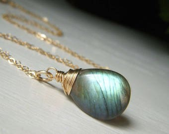 Fiery Labradorite Necklace, Gold Filled Chain, Wire Wrapped Minimalist Briolette Pendant, Genuine Labradorite Jewelry