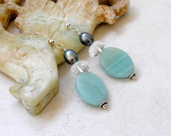 Amazonite Earrings Aquamarine Freshwater Pearls Sterling Silver Metaphysical Healing Stones Boho Jewelry