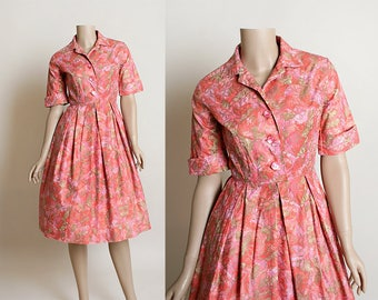 Vintage 1960s Dress - 60s Shirtwaist in Pink Floral Gold Embossed Metallic Print - Button Up Cotton Shirtdress - Small