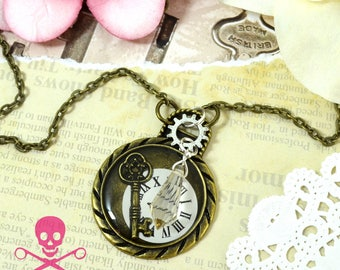 TIMELESS KEY - Resin Steampunk Watch Charm Necklace - Antique Bronze