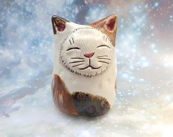Ceramic Calico Cat Sculpture