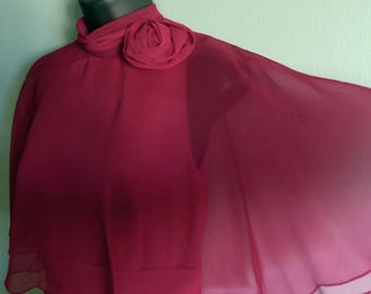 1970's Vintage Berry Red Tiered Chiffon Formal Dress Miss Elliette