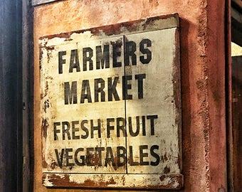 Farmers Market Photograph, Print or Canvas Wrap, Photo of Public Sign, Fresh Fruit, Vegetables, Farmhouse Decor, Kitchen Art- Farmers Market