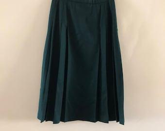 Pendleton Skirt Dark Green Wool Pleated kilt style sz 10-12