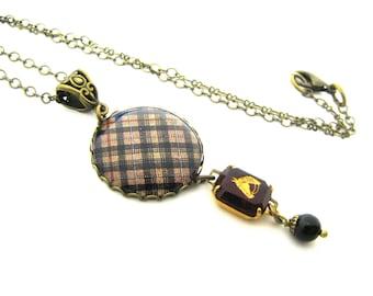 Scottish Tartan Jewelry - MacKenzie Hunting Tartan Necklace w/Siam Red and Gold Horse Intaglio Charm w/Mystic Black Swarovski Crystal Pearl