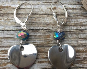Sterling Heart Mystic Lapis Gem Earrings