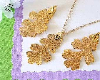 Gold Lacey Oak Leaf Necklace, Real Leaf Necklace, Oak Leaf, Gold Leaf Necklace, Long Leaf, Leaf Pendant LC45
