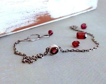 Rhodolite Garnet Bracelet - January Birthstone Jewelry - Solitaire Garnet - Bezel - Red Garnet Bracelet - Oxidized Sterling Silver Bracelet