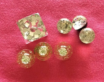 Lucite Buttons with Embedded Sparkles - Seven in All