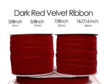Dark Red Nylavour Swiss Velvet Ribbon - 3/8inch, 5/8inch, 7/8inch, 1&7/16inch crimson red, (614)