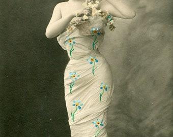 Vintage French Lady RPPC postcard -  VC028