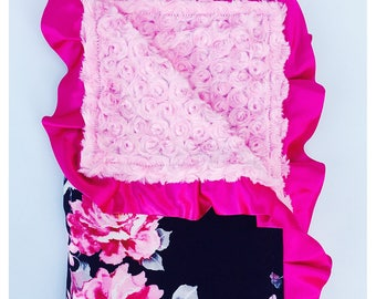 MARGOT BABY BLANKET / Roses satin print with soft plush pink minky, Minky baby blanket, Unique baby shower  gift/ one of a kind