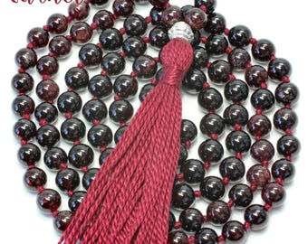Garnet Necklace, Hand Knotted, 108 Bead Mala
