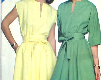 UNCUT Dress with Dropped Shoulders, Pockets and Cuffed Sleeves Bust 36 - 40 Vintage Sewing Pattern See & Sew 3877