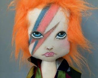 Ziggy Stardust David Bowie Doll Figure soft sculpture art doll, ooak fabric rock star