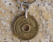 Good Luck Coin Key Ring, Japanese 5 Yen Coin Keyring, Coin Keychain by Hendywood KCE45