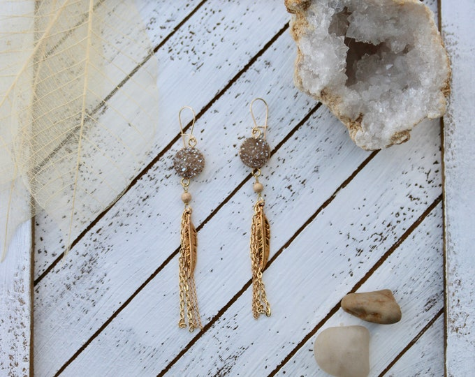 Champagne Druzy Stone and Feather earrings