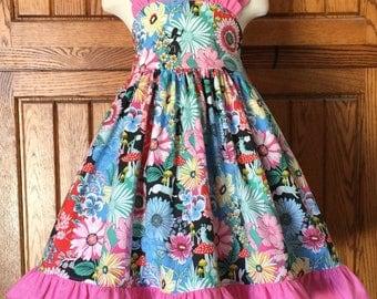 Molly ruffled sundress Alice in Wonderland fabric