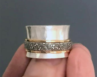 Wide Silver Spinner Ring with Hammered Gold and Patterned Bands, Mixed Metal Meditation Ring, Fidget Ring