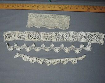 4 Pieces of Fancy Antique Lace Trims from Victorian Edwardian Dress Remnants, Vintage Lace