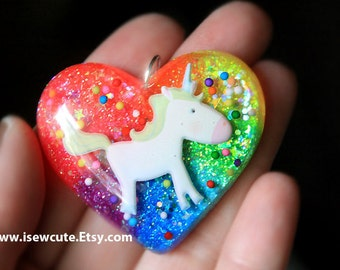 Unicorn Necklace, Rainbow Unicorn Jewelry, Rainbow Heart Sparkly Modern Glitter Pendant Chain & Gift Box Included, handcrafted by isewcute