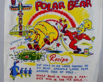 Vintage Kitchen Towel  - Quick Frozen Alaskan Polar Bear Recipe