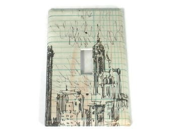 Light Switch Cover Wall Decor Switchplate Cover  Single Switch Plate in Skyline Sketch (289S)