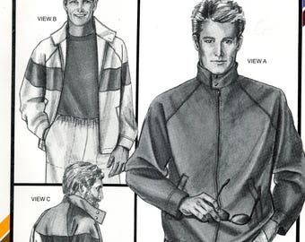 Stretch & Sew 1794 Mens Sporty Jacket Coat Zip Front Chest Sizes 34 to 48 Uncut Vintage Sewing Pattern 1985