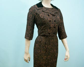 50s Dress & Jacket . Vintage Brown Black Print with Velvet Trim Fitted Dress Jacket Ensemble . S M