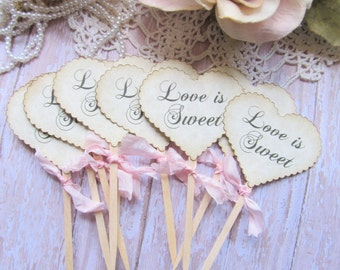 Love is Sweet Wedding Hearts Cupcake Toppers Party Picks - Set of 12 - Choose Ribbons - Vintage Rustic Wedding Just Married Bridal Shower