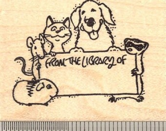 From the Library of... Multi-Pet Rubber Stamp J11016 Wood Mounted