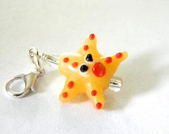 Yellow Starfish Charm with Lobster Clasp Lampwork Glass