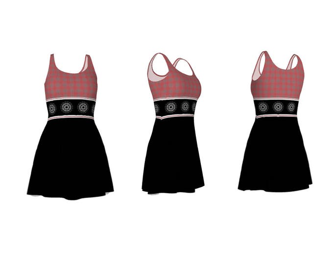 Cute Stretchy Flare Dress Watermelon Pink and Grey Check Tile, Mandala Tile Stripe Centre and Black Bottom