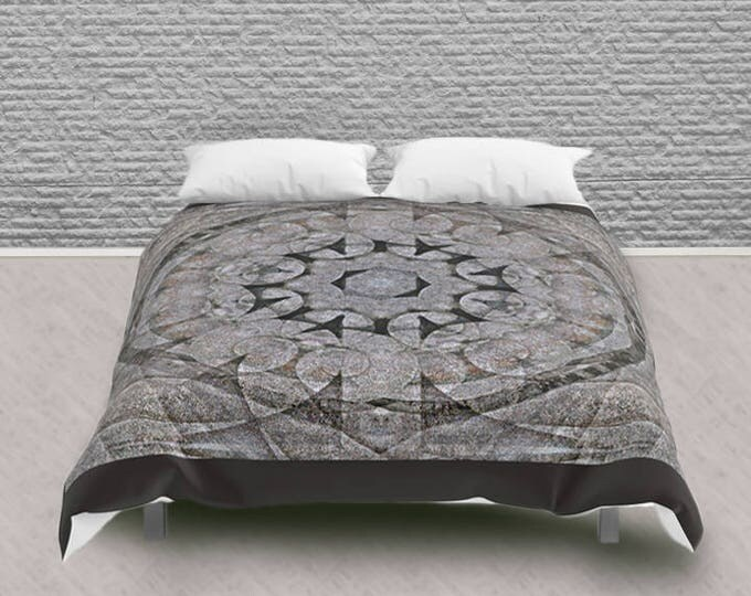 Queen Size Comforter Gothic Circle Medallion Stone Architecture, Neutral Colour Pattern Bedding Home Decor