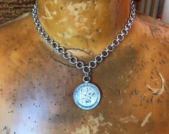 St. Christopher Necklace // Silver Chain Choker // Vintage Pendant // Talisman // Gift for Traveler Surfer // Good Luck Charm // Minimalist