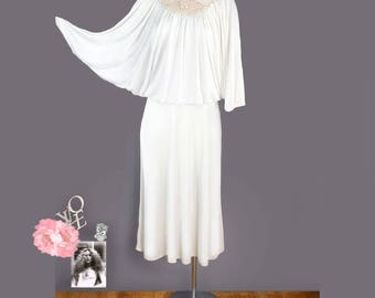 1970's Crochet Bohemian Angel Dress - MED