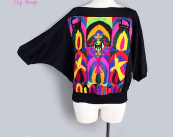 1970's Black Dolman Sleeve Knit Top Mexican Embroidery- MED