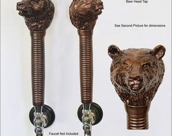 Bear Head Beer Tap Handle Copper Metallic Finish Handmade in the USA