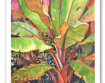 "Banana Plant Gecko Lizard Art ""Banana Gecko"" Prints Signed and Numbered"